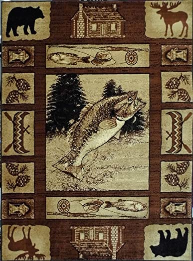Lodge Cabin Style Area Rug Design 363 Brown 5 Feet 2 Inch X 7 Feet 3 Inch