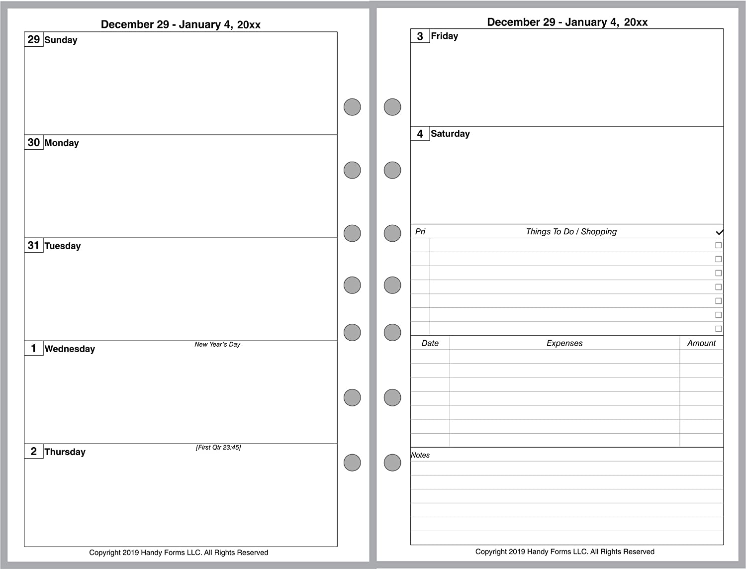 2 Pages Per Month Style A Day Runner 2 Pages Per Week Day-Timer and Others Week Starts on Monday 2020 Weekly /& Monthly Planner for 7-Ring Notebooks by Franklin-Covey Without Lines.