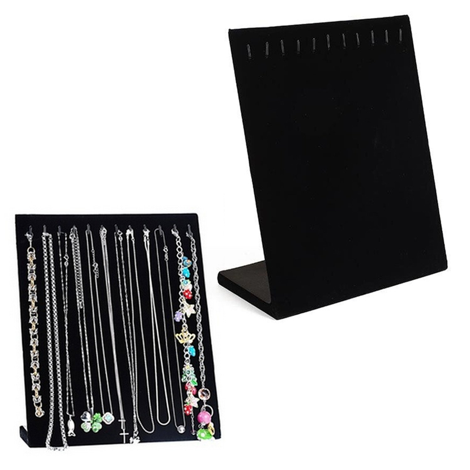 Abeillo Black Velvet Rectangle Jewelry Holder Pandent Chain Bracelet Necklace Display Stand Show Case Organizer