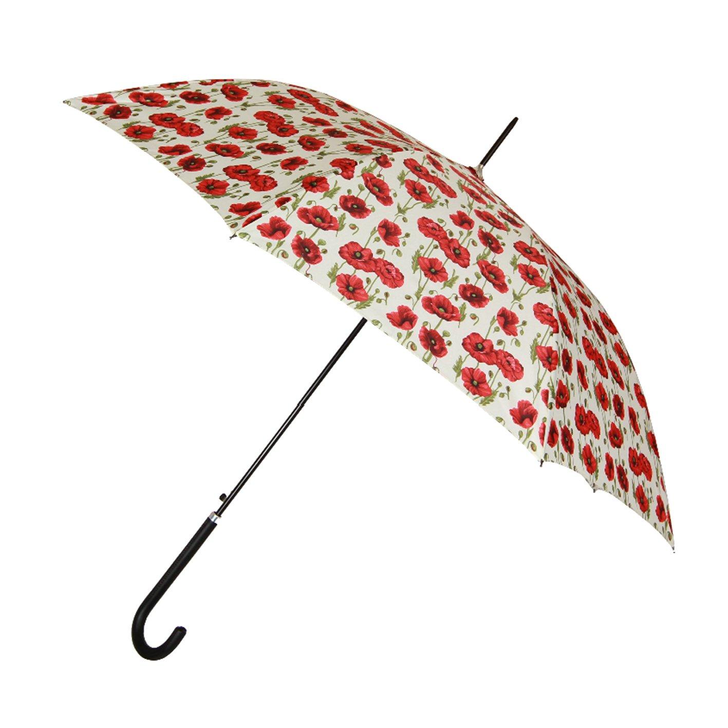 Signare Moda bastone ombrello manico dritto per le donne papavero