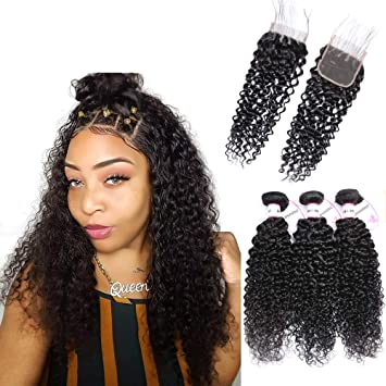 AOSOME Curly Real Human Hair Bundles Extension