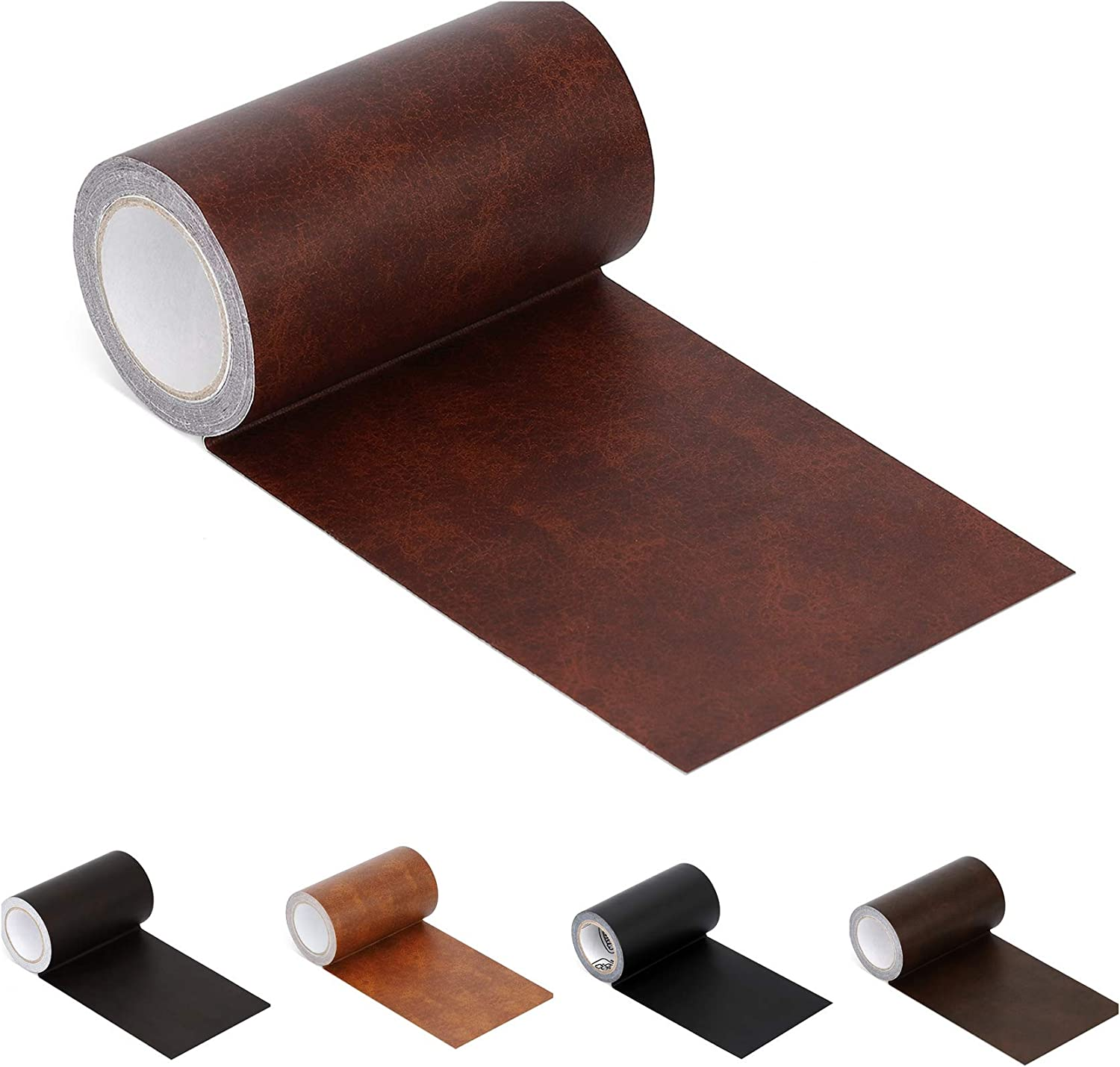 """Leather Repair Tape Patch Leather Adhesive for Sofas, Car Seats, Handbags, Jackets,First Aid Patch 2.4""""X15' (red Brown Leather)"""