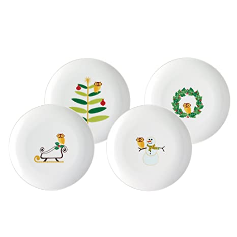 Rachael Ray Dinnerware Holiday Hoot 4-Piece Dessert Plate Gift Set  sc 1 st  Amazon.com & Amazon.com | Rachael Ray Dinnerware Holiday Hoot 4-Piece Dessert ...