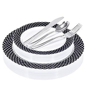 125 Piece Elegant White & Black Disposable Plates with Silver Plastic Utensils - 25 Dinner Plates, 25 Appetizer Plates, 25 Silver Forks, 25 Silver Spoons, 25 Silver Knives (Black/White Rim)