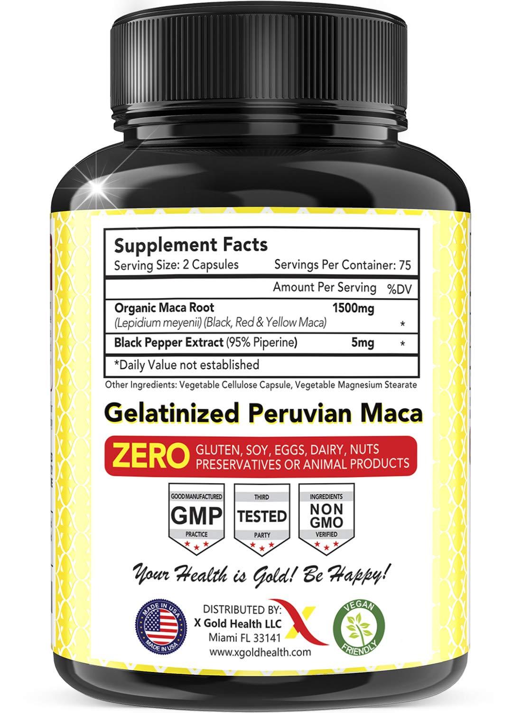 Organic Maca Root Powder Capsules Black, Red, Yellow - 150 Vegan Pills - 1500mg Strongest Peruvian Maca Gelatinized for Energy, Performance, Mood for Men and Women w/Black Pepper for Best Benefits