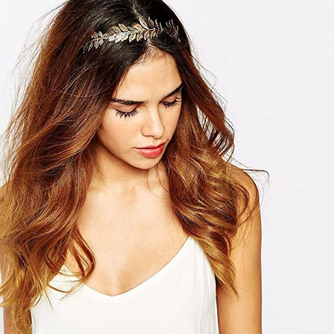 Gold WT Delicate Elegant Women European Style Leaves Headbands Happy Hours