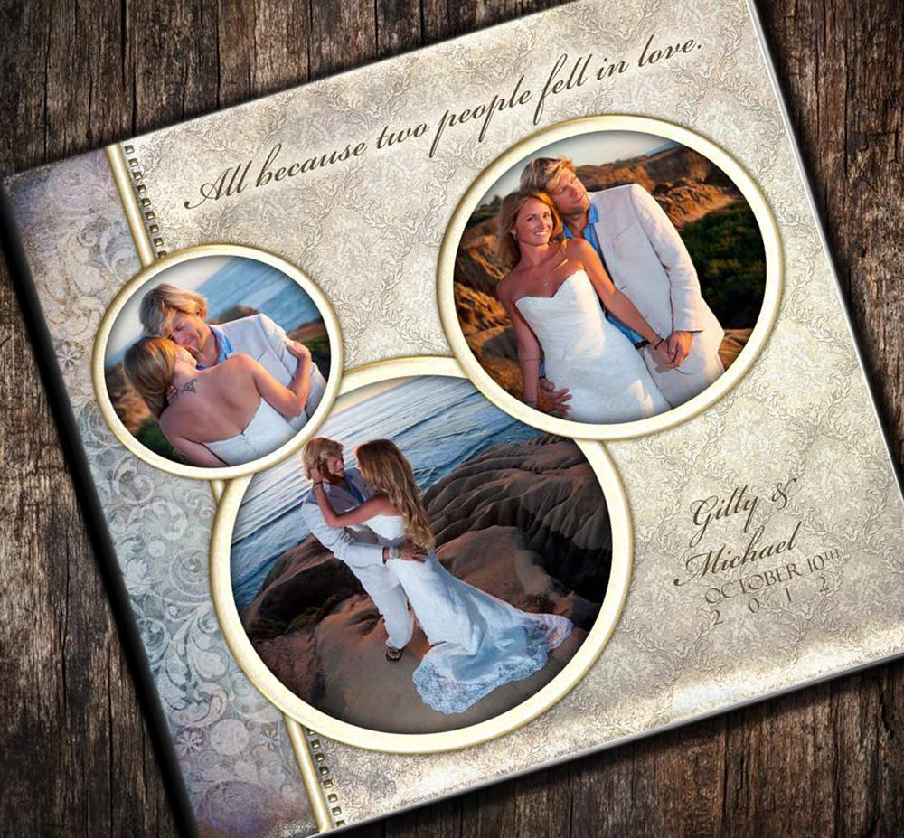 Beauuful Wedding12x12 Leather Album with Personalized Foil Imprinted Spine
