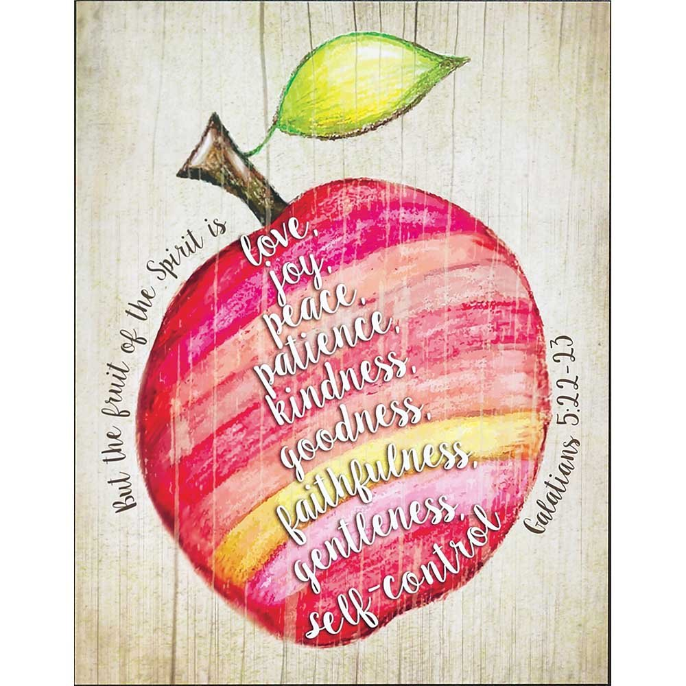 Fruit of the Spirit Galatians 5:22-23 Apple Design Colorful 14 x 11 Wood Wall Art Sign Plaque