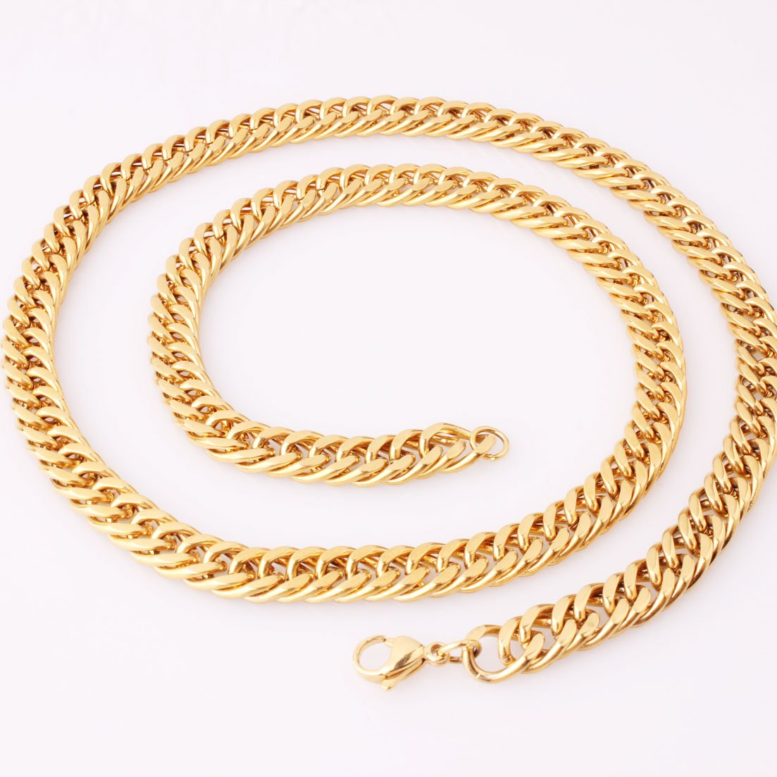 8mm Gold Plated Stainless Steel Cuban Curb Link Chain Men Necklace 16-40