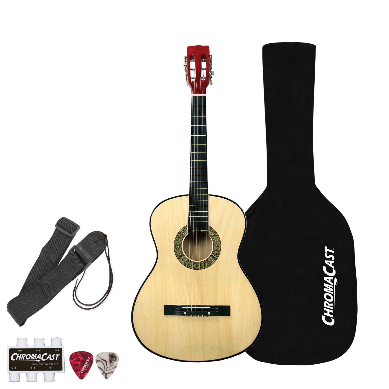 Rise by Sawtooth Full Size Steel String Beginner's Acoustic Guitar Pack, Natural ST-RISE-AG-N-KIT-1