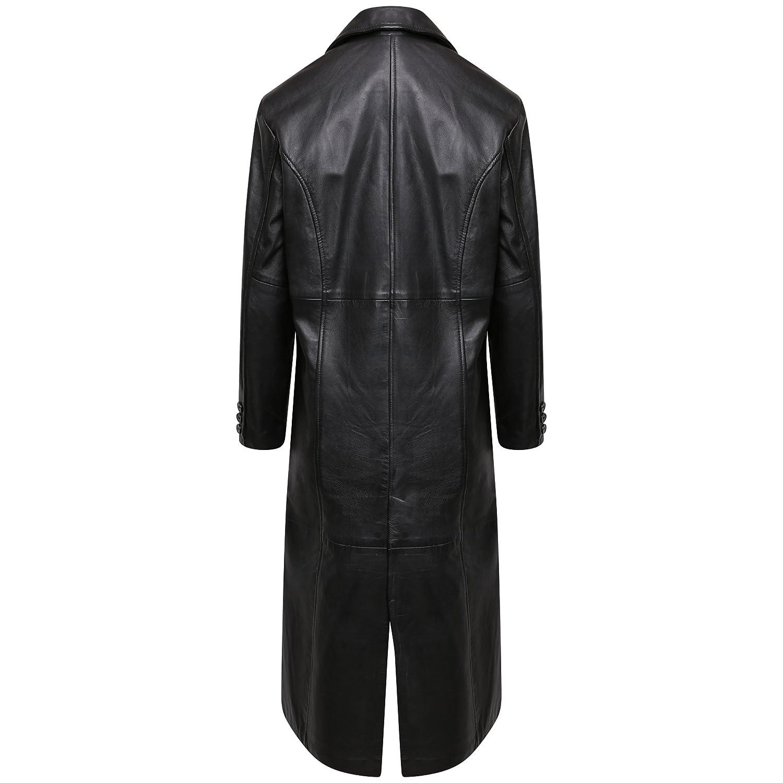 836b85a741b1 New Womens Vintage Classic Real Leather Gothic Long Trench Coat Full Length  Jacket  Amazon.co.uk  Clothing