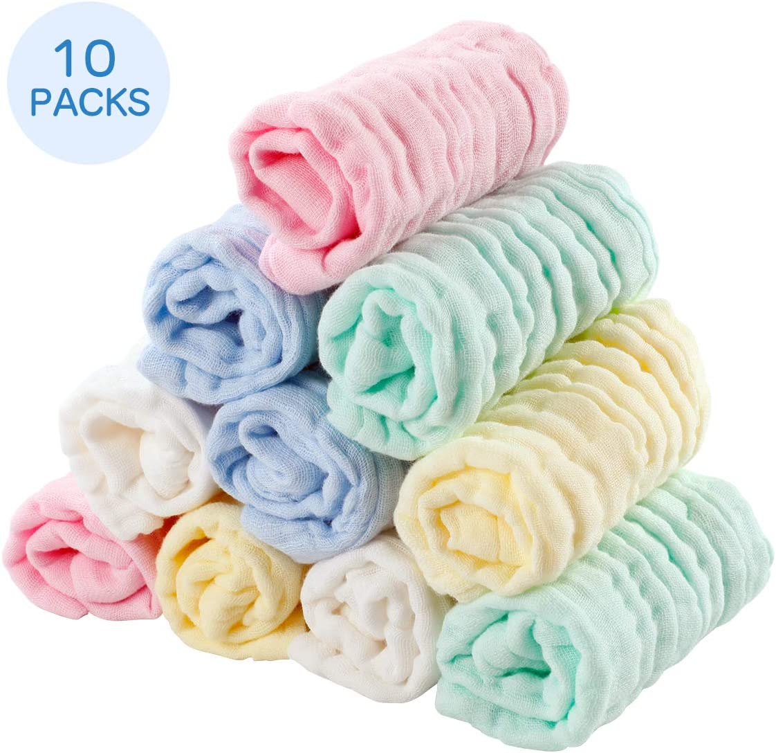 EXTSUD 10PCS Toallitas de Muselina para Bebés Toallas Suaves para ...