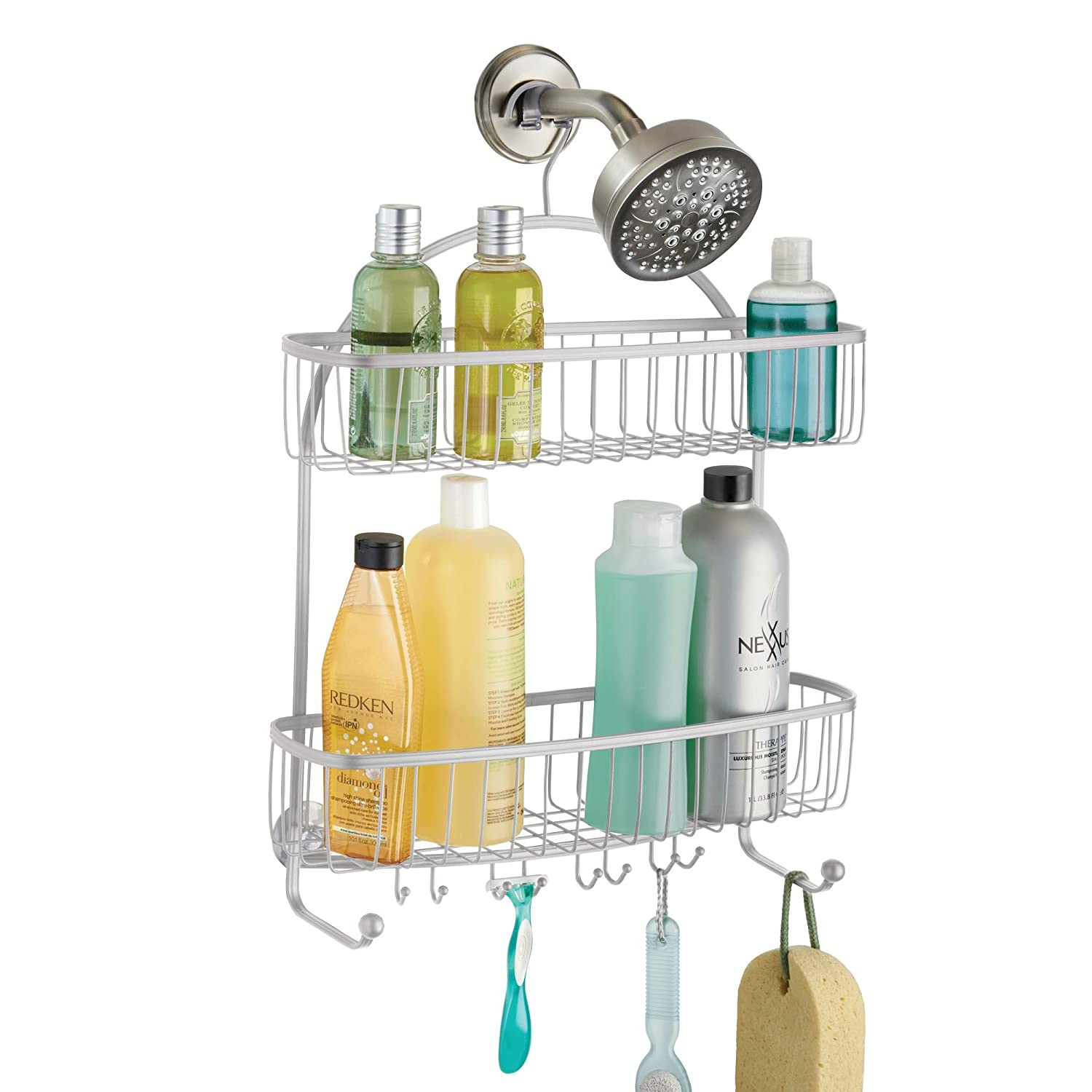 mDesign Over Door Shower Caddy - Practical Shower Shelves - No Drilling Required - Stainless Steel Hanging Shower Baskets for your Shower Accessories (Shampoo, Razors, and More) - Bronze MetroDecor 2303MDBST