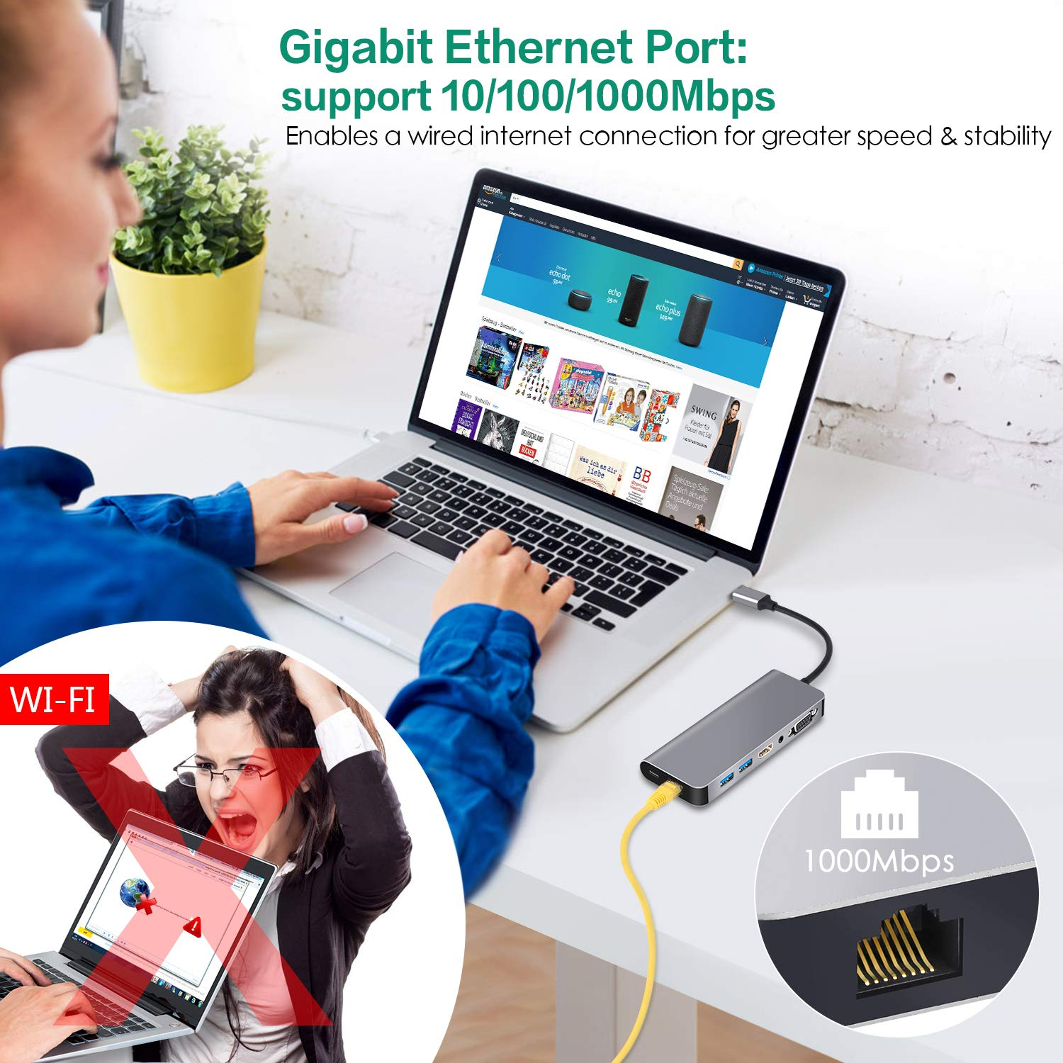 USB C HUB Ethernet HDMI,Type C HUB to HDMI 4K VGA Adaptor Samsung Dex Station for Galaxy S9/S8/Note 9/8,Nintendo Switch Adapter with 2 USB 3.0,Aduio Jack, PD for MacBook Pro and More USB-C Devices