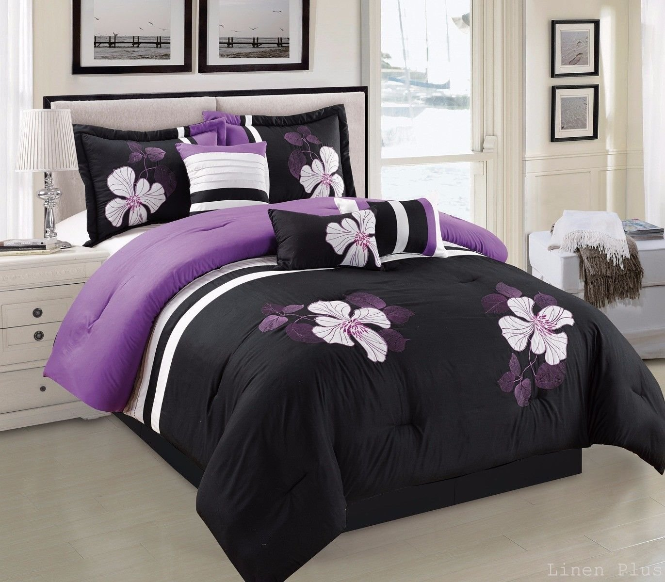 Black and purple bed sheets - Bedding Sets 7 Piece Black Purple Embroidery Comforter Set Queen Size