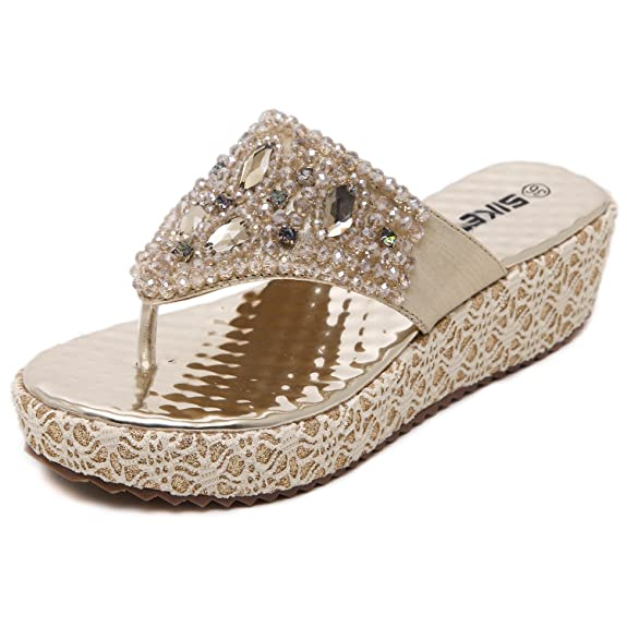 DQQ Damen Tanga Perlen Plattform Keil Sandale, Gold - Gold - Größe: 39