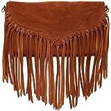 SUSU The Lillian Suede Leather Fringe Crossbody Bag Suede Handbags