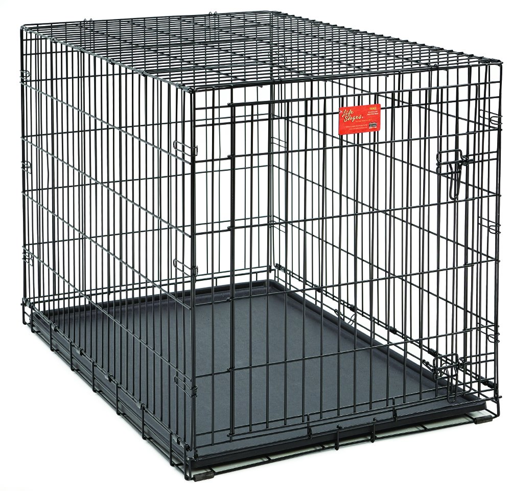 amazoncom  midwest life stages folding metal dog crate  pet  - amazoncom  midwest life stages folding metal dog crate  pet crates  petsupplies