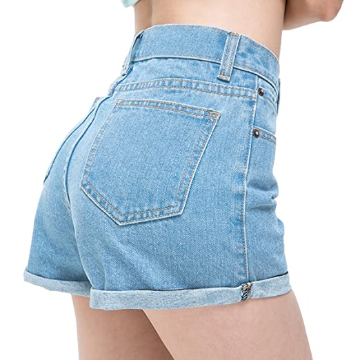 cabcbf91b4d02 Womtop Summer Women Shorts Vintage Retro Junior Jean Shorts High Waist  Crimping Denim Shorts Women (