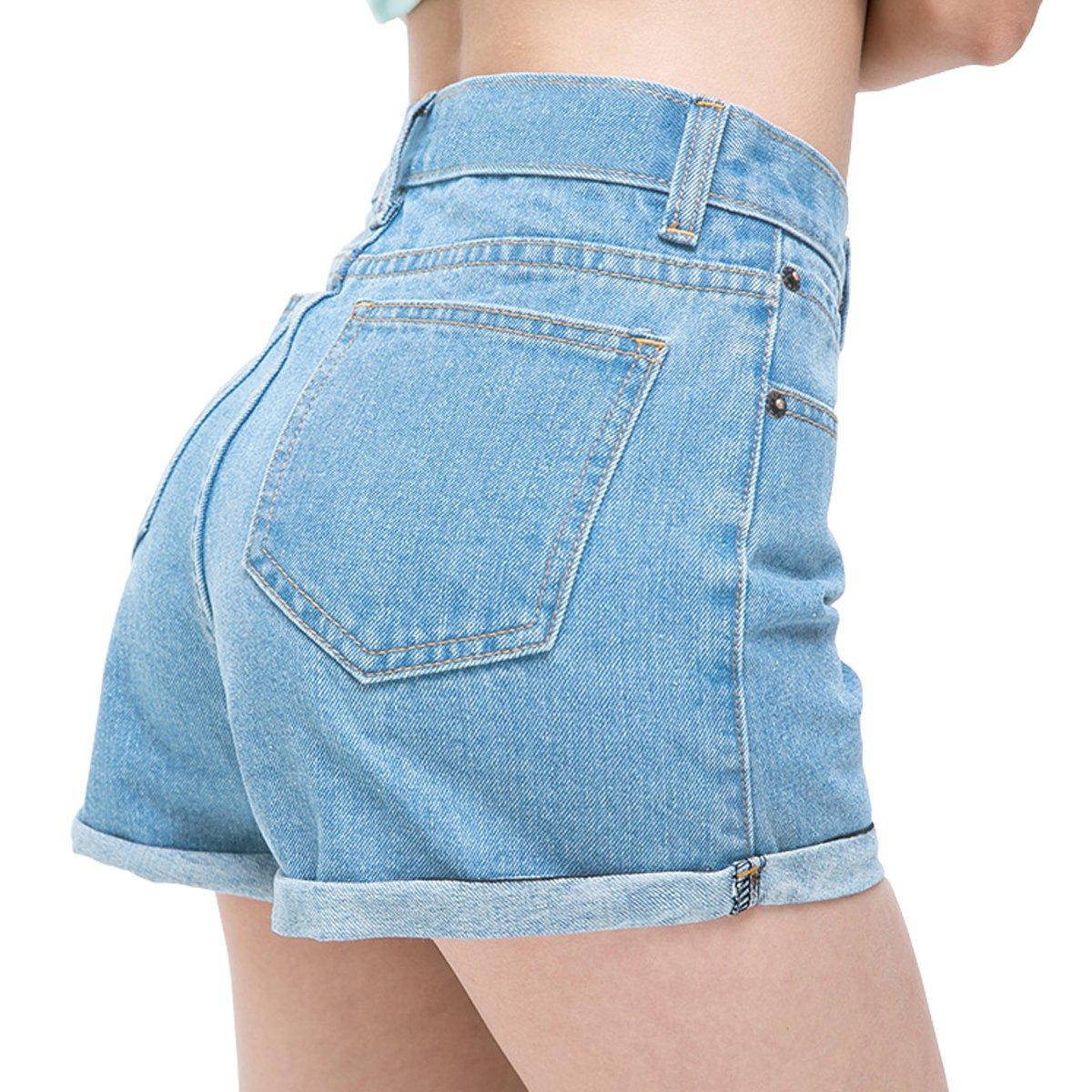 Womtop Summer Women Shorts Vintage Retro Junior Jean Shorts High Waist Crimping Denim Shorts Women (M, Blue)