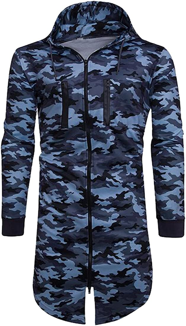 Fensajomon Mens Classic Hooded Zip Up Long Camo Jacket Sweatshirt Outerwear 2 L