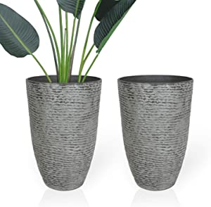 Worth Garden Set of 2 Tree Planter - 14'' Dia. x 20.5'' H. - Large Imitation Stone Flower Pots Indoor & Outdoor Decorative Pots for Plants Garden Patio Unbreakable Grey Tall Planters - G944A01