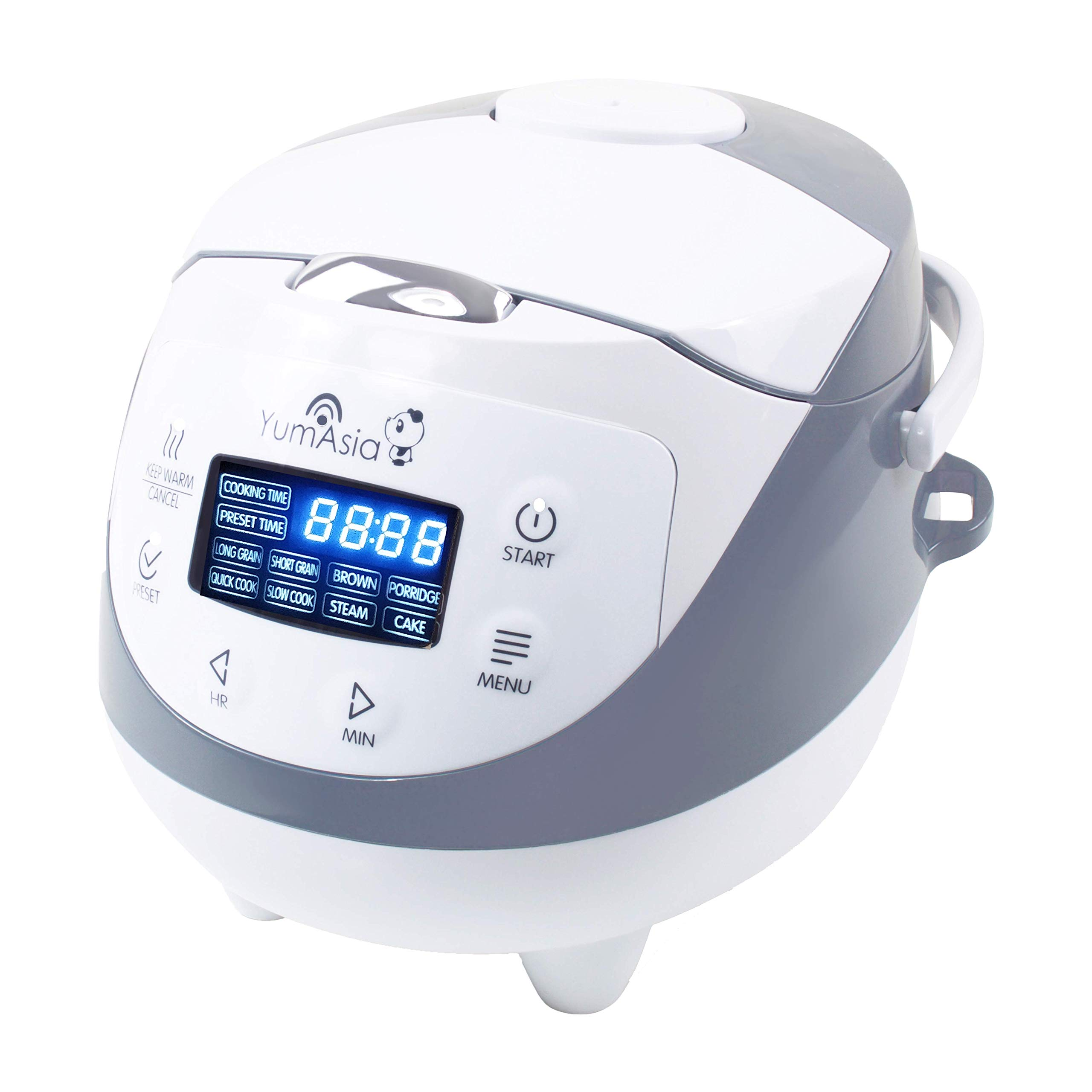 Yum Asia Panda Mini Rice Cooker with Ninja Ceramic Bowl and Advanced Fuzzy Logic (3.5 Cup, 0.63 Litre) 4 Rice Cooking Functions, 4 Multicooker Functions, Motouch LED Display, 220-240V