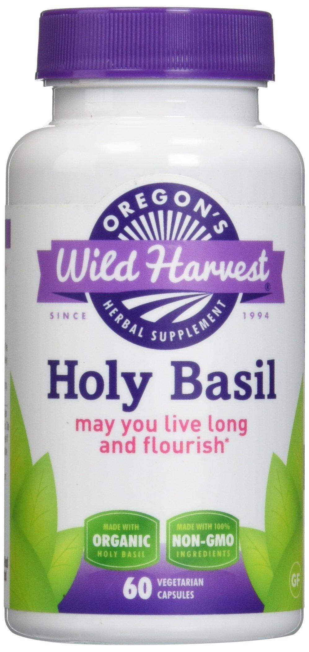Oregon's Wild Harvest Holy Basil Organic Supplement, 60 Count vegetarian capsules, 800mg organic holy basil leaf