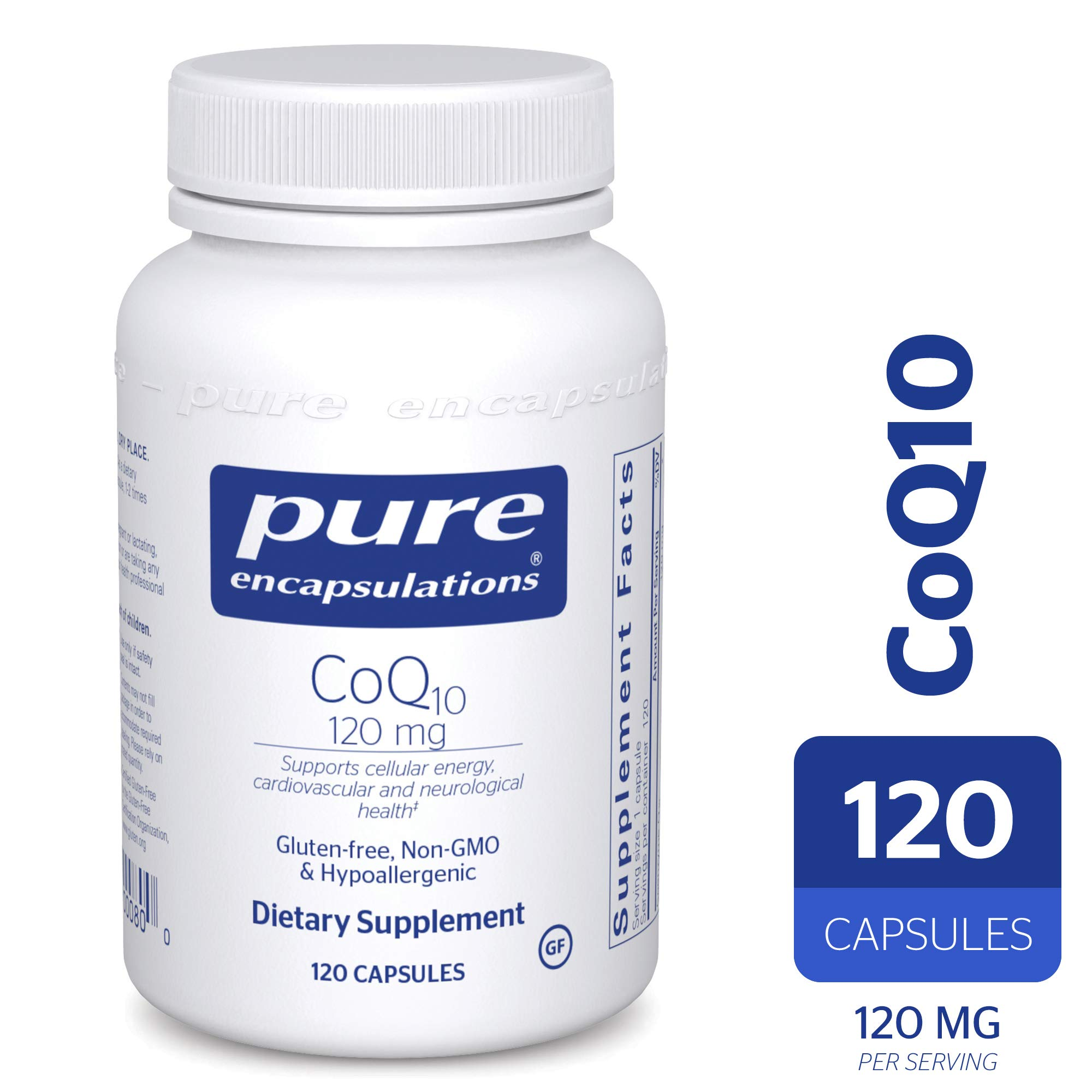 Pure Encapsulations - CoQ10 120 mg - Hypoallergenic Coenzyme Q10 Supplement - 120 Capsules