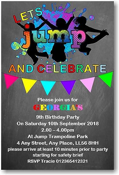 Cama elástica fiesta de cumpleaños invitaciones personalizada ...