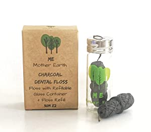 VEGAN Biodegradable Bamboo Charcoal Dental Floss with Refillable Glass Container | Free Refill | Natural Candelilla Wax | 33yds x2 | Peppermint Essential Oil | Eco Friendly Zero Waste Oral Care