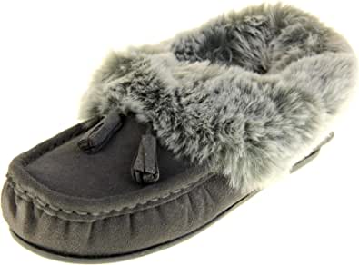 Dunlop Womens Maddison Faux Fur Suede Slippers