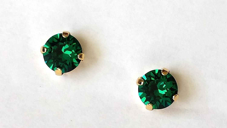 d01953dc7 Amazon.com: Swarovski Emerald Crystal Stud Earrings Gold Post Green  Rhinestone Studs: Handmade