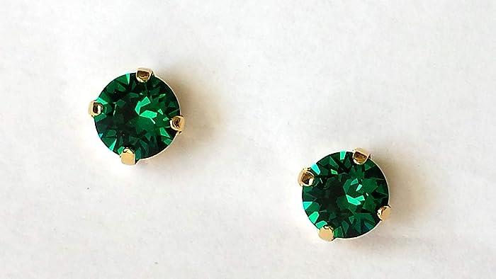 8b78d29b1 Amazon.com: Swarovski Emerald Crystal Stud Earrings Gold Post Green  Rhinestone Studs: Handmade