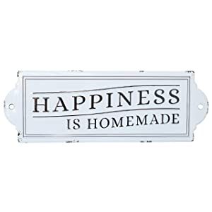 "Barnyard Designs Happiness is Homemade Enamel Wall Sign Rustic Vintage Inspirational Quote Home Decor 24"" x 8.25"""