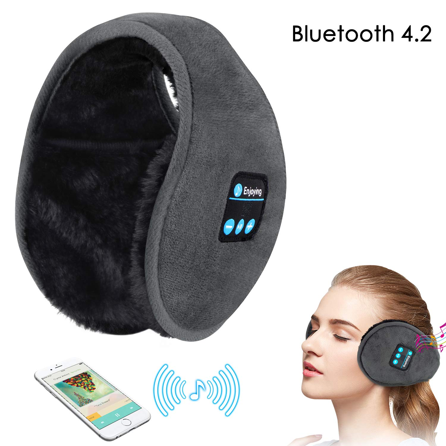 Earmuffs Headphones,WU-MINGLU Bluetooth Earmuff Headphones,Wireless Over-Ear Ear Warmer,Hi-Fi Stereo Headset,Foldable, Winter Earmuffs for Women & Men,Ear Muffs for Walking,Indoor Outdoors (Grey)