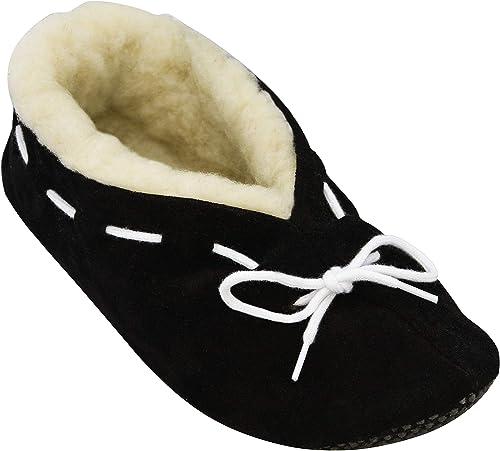 BeComfy Pantoufles Laine de Mouton Chauds Chaussons pour Hommes//Femmes Unisex Semelle en Cuir Ou Antiderapante pour Hiver 36-46 EU
