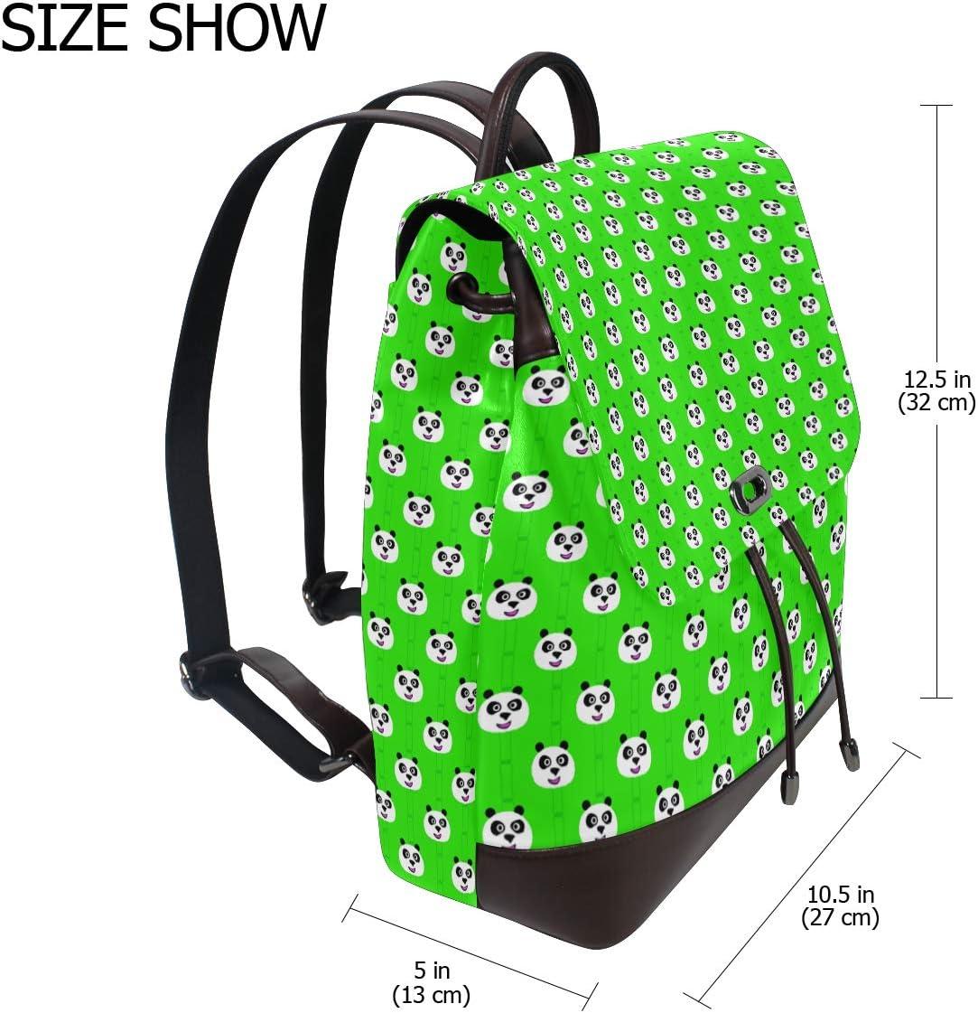 Leather Pandas Head Bamboo Green Backpack Daypack Bag Women