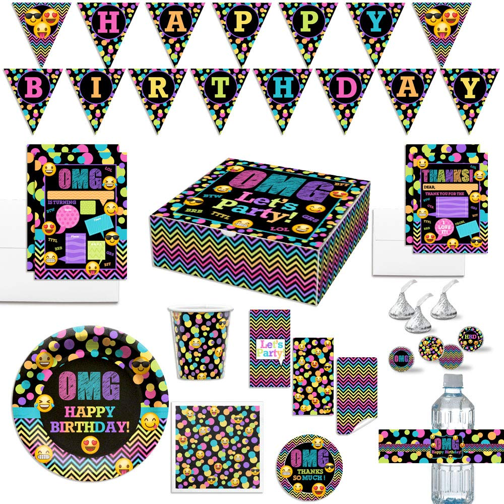 Ultimate Emoji Texting Birthday Party In a Box for Tween & Teen Girls, Complete Party Decoration set for 20 Guests. Includes Invitations, Thank You Cards, Stickers and More. Over 400 Pieces by AmandaC