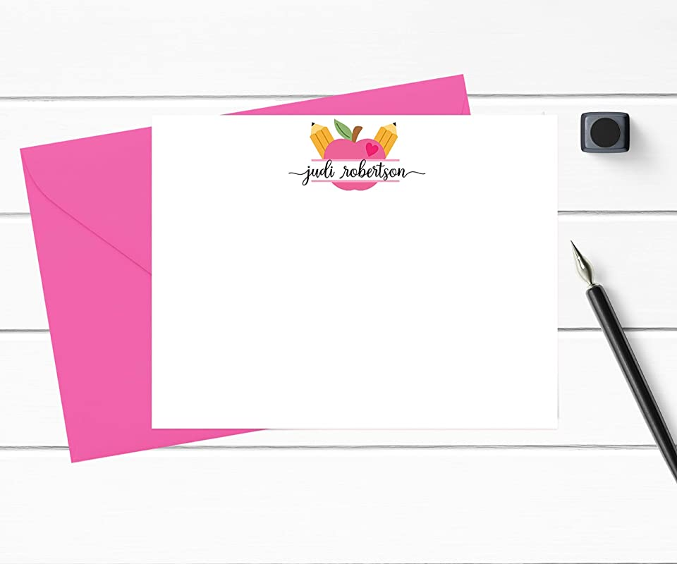 Boxed Set of A2 Flat Stationery Teacher Stationery Note to Students Teacher Note Cards Personalized with Name in Rainbow Bright Colors