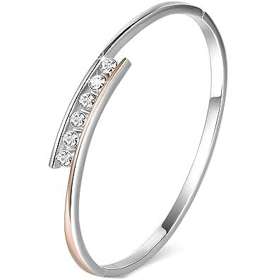 Femme La Bracelet Rose Argent Swarovski Saint Valentin ❤cadeau Pour Or Femme❤ Classique Angelady Cristaux De l1cTJFK3