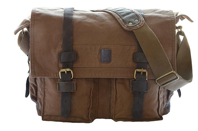 65d40f06b0 Herebuy - Vintage Canvas Leather Messenger Bags for Men Laptop Shoulder Bags  (XL