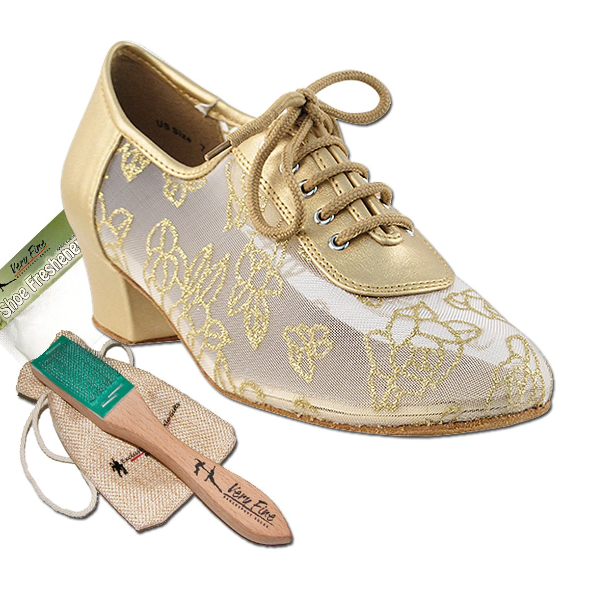 Women's Ballroom Dance Shoes Salsa Latin Practice Dance Shoes Light Gold Leather 2002EB Comfortable - Very Fine 1.5'' Heel 9 M US [Bundle of 5]
