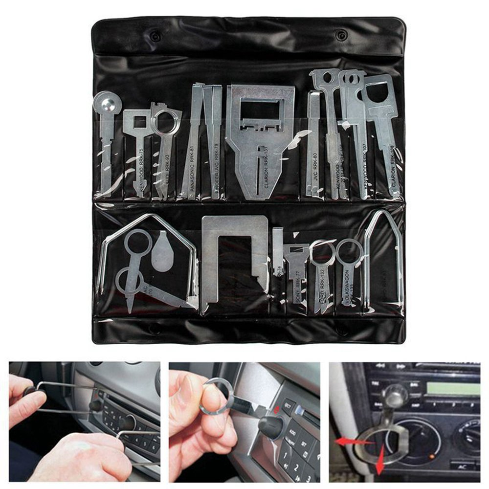 Pulusi 38 Pcs Professional Car Interior Dash Panel Audio Stereo CD Player Radio Removal Clip Stereo Release Removal Tool Kits For VW,Ford,Benz,Audi,Pioneer JVC,Kenwood