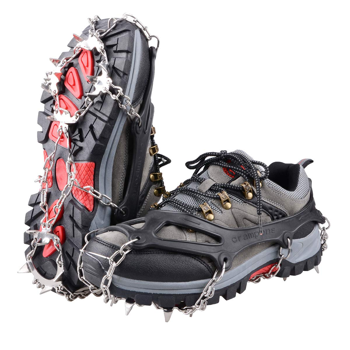 TRIWONDER Ice Snow Grips Over Shoe/Boot Traction Cleat Rubber Spikes Slip-on Stretch Footwear Traction Anti-slip Spikes Crampons