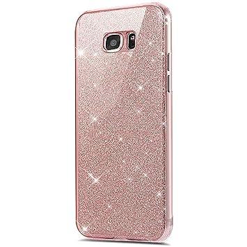 Galaxy S7 Edge 360 grados Funda, Galaxy S7 Edge móvil de purpurina, Galaxy S7 Edge Carcasa Antigolpes ultrafina suave TPU Gel silicona Brillante ...