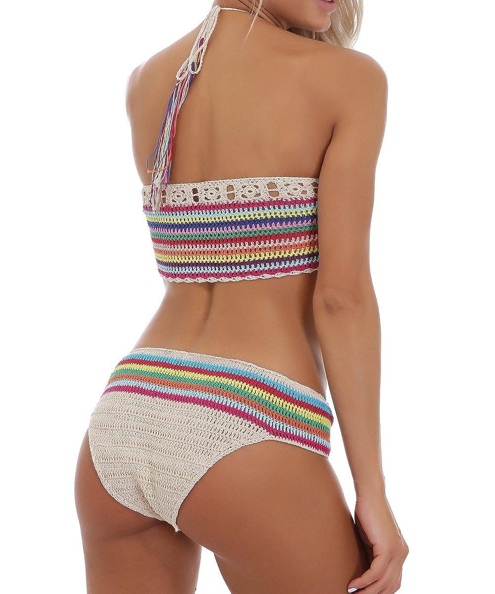 d67513be2b66f Amazon.com  Women Crochet Bikini Set Knit 2PCS Bathing Suit Swimsuit  Beachwear  Clothing