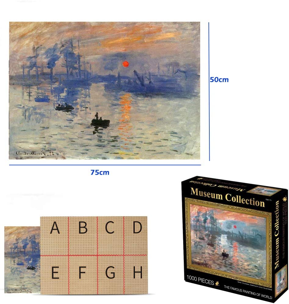 Jigsaw Puzzles 30x 20 Impression Sunrise 1000 Piece for Adults /& Young Claude Monet Art Reproduction