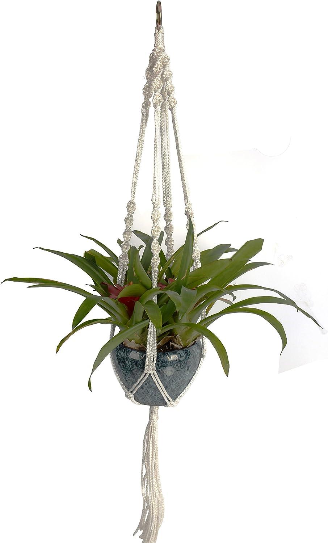 Newcomdigi Macrame Plant Hanger Indoor Outdoor Hanging Planter Basket Cotton Rope 4 Legs 40 Inch