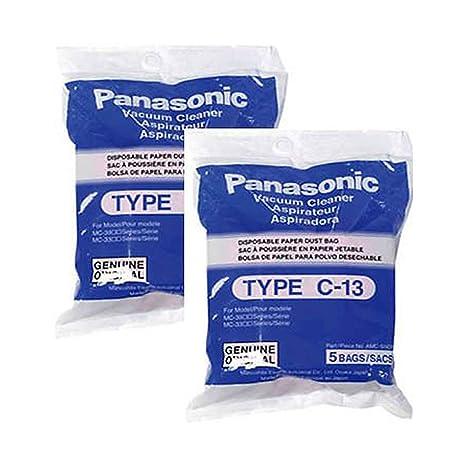 2 Panasonic Canister Vacuum Cleaner Type C-13 Bags Genuine Part # AMC-S5EP